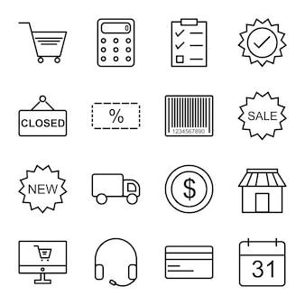 電子商取引のアイコンセット