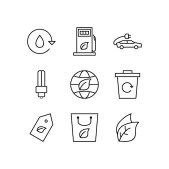 個人および商業用のエコのアイコンセット