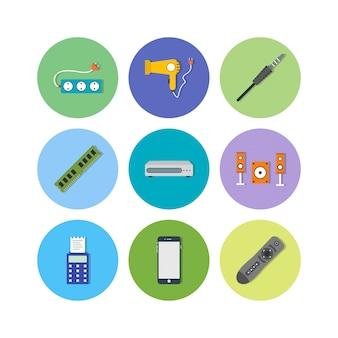個人用および商用用の電子デバイスアイコン