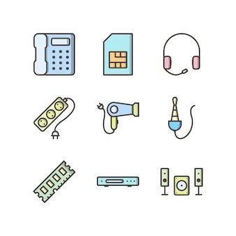 個人および商業用の電子機器のアイコンセット