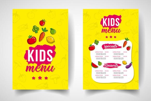 Ручной обращается овощное меню ресторана для детей.
