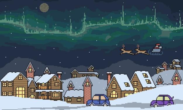 ピクセルアートの冬の町のシーン