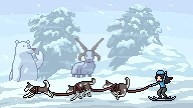 Пиксель арт сцена хаски лыжи