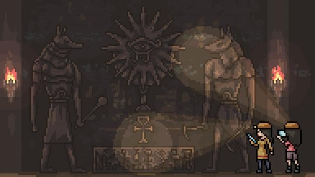 ピクセルアートの孤立した古代遺跡