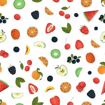 Бесшовный фон из фруктов и ягод.