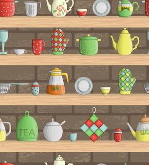 色のキッチンツールとシームレスなパターンベクトル