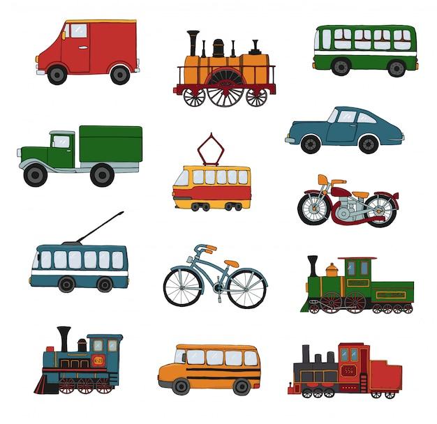 Вектор цветной набор ретро двигателей и транспорта