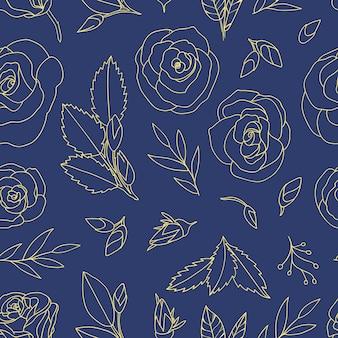 バラと色のシームレスなパターン。