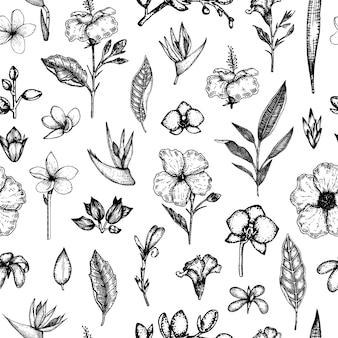 分離された熱帯の花のシームレスなパターン。手描きの花の背景。