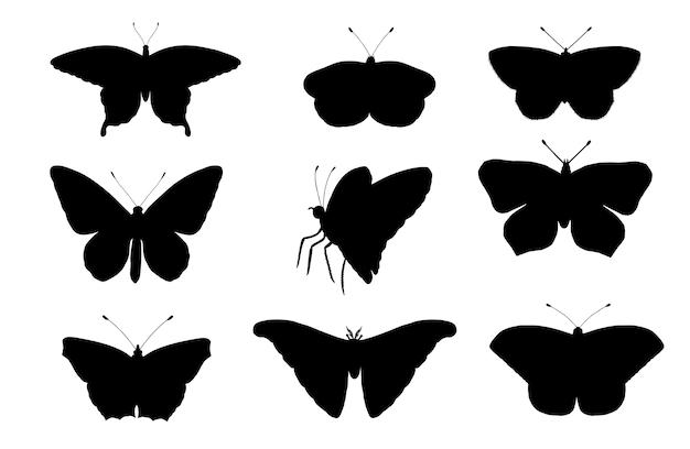 Векторный набор бабочек.