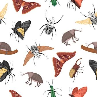 Бесшовный фон из тропических насекомых. повторите фон рисованной цветной атлас моли, долгоносика, бабочки, голиафа, жука геркулеса, испанской мухи. красочный милый орнамент тропических ошибок.