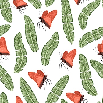 Бесшовный фон из зеленых банановых листьев с бабочками. экзотические джунгли обои