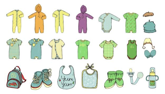 ベビー服のベクトルイラスト。男の子の服セット。