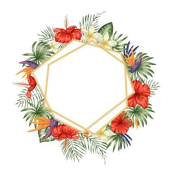 Шаблон рамы с тропическими листьями и цветами, золотая цепочка с белым местом для текста.