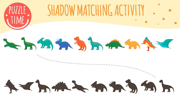 子供のためのシャドウマッチング活動。恐竜のトピック。かわいい面白い笑顔の恐竜。