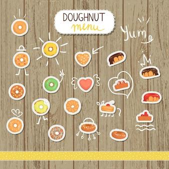 Векторная иллюстрация пончик в мультяшном стиле. яркие и милые иллюстрации пончик. симпатичные наклейки для кафе
