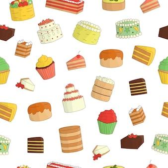 Бесшовный фон из цветных тортов. красочный повтор текстуры сладких хлебобулочных изделий. яркий рисунок ко дню рождения