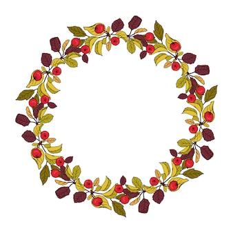 楽園のリンゴの花輪。手描き漫画スタイルのイラスト。結婚式、休日またはカードのかわいい夏または春のフレーム