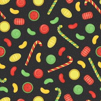 黒のテクスチャ背景にクリスマスや新年の要素を持つ色のシームレスパターン