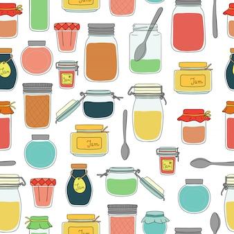 色のジャム瓶のシームレスなパターンベクトル。カラフルなビンテージパターン