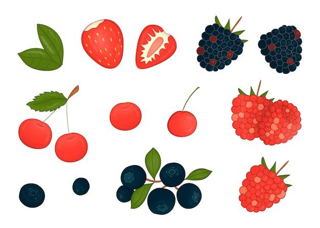 Набор цветных ягод, изолированные на белом