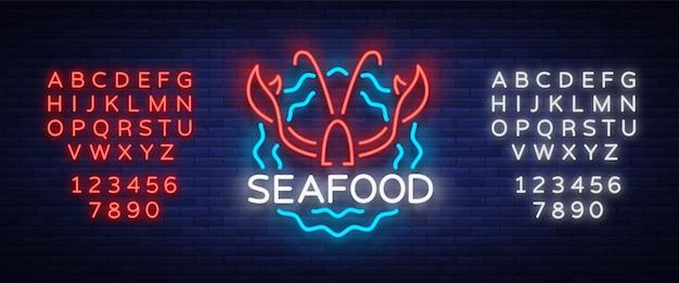Морепродукты неоновые логотип значок
