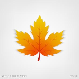 白の現実的なスタイルのカエデの葉