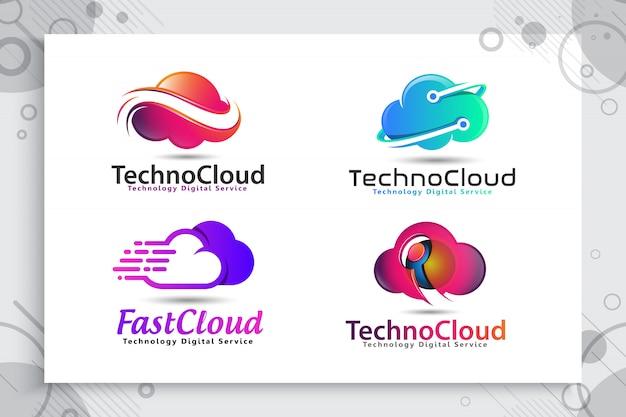 現代の色とスタイルのコンセプトを持つテクノロジーのクラウドデータのロゴのコレクションを設定します。