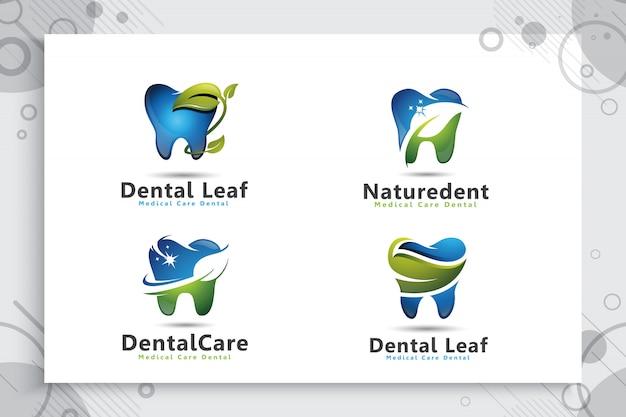 現代の自然な概念と歯科治療ロゴのコレクションを設定します。
