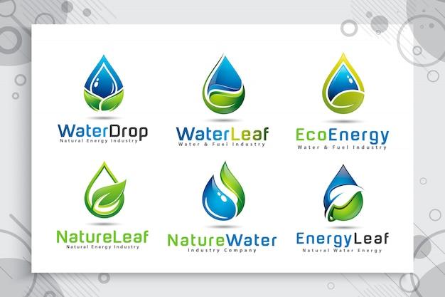 Установите коллекцию логотипа капли воды с современной концепцией цвета.
