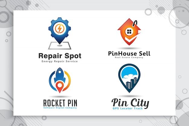 シンプルなスタイルコンセプト、イラストピンマップでピン市ロゴのコレクションを設定します。