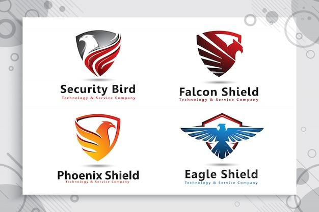 テクノロジー会社のモダンなスタイルのイーグルシールドロゴのコレクションを設定します。
