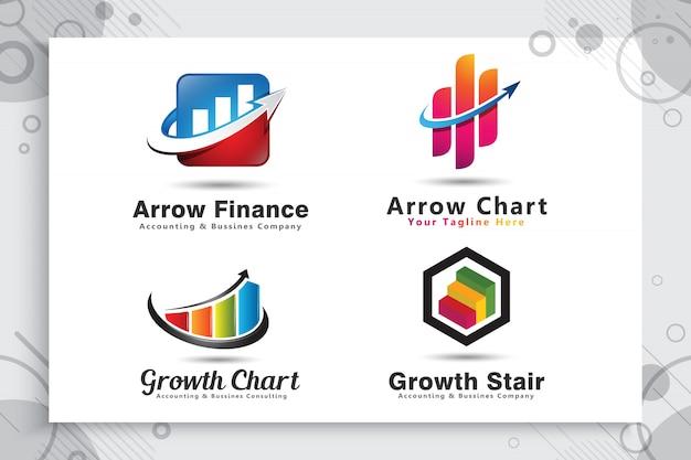 矢印グラフのロゴのコレクションを、近代的なコンセプトの会計のシンボルとして設定します。