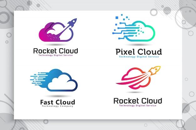 カラフルでシンプルなスタイルのロケットクラウドロゴのコレクションを設定します。