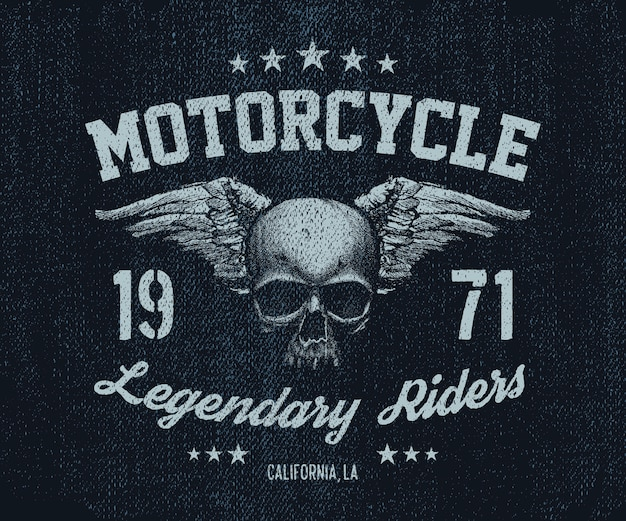 Векторная эмблема ретро мотоциклист старый череп