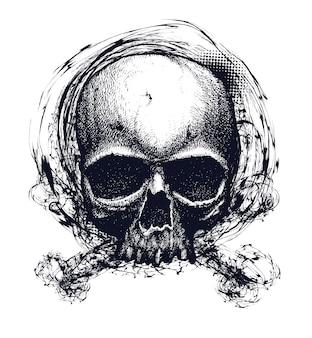 Черно-белая человеческая иллюстрация черепа