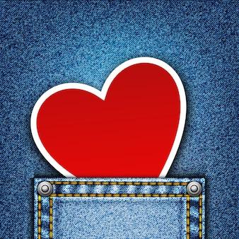 Реалистичная джинсовая фон с сердцем