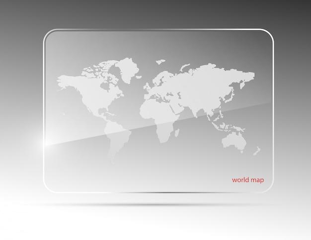 ガラス世界地図イラスト。