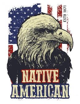 Американский орел. футболка с принтом. элемент для вашего дизайна