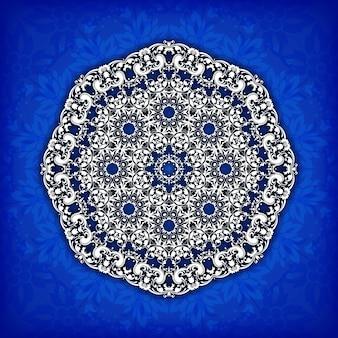 Круг цветочный орнамент границы. кружевной узор. белый орнамент на синем фоне.