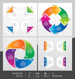 Инфографики шаблон с современным стилем и красочной концепцией