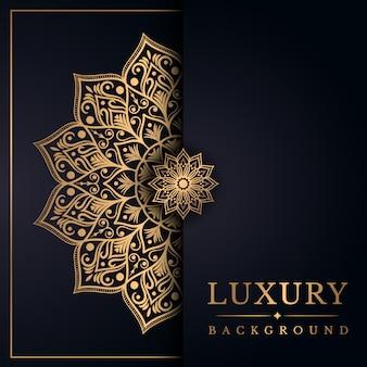 黄金のアラベスクデザインアラビア東スタイルと豪華なマンダラの背景