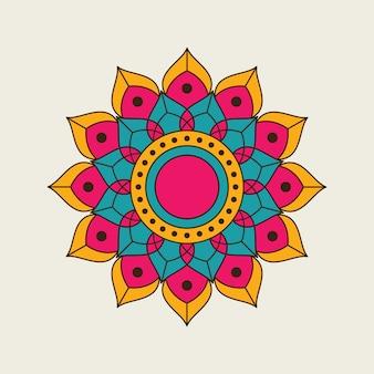 インドの丸い色のマンダラデザイン