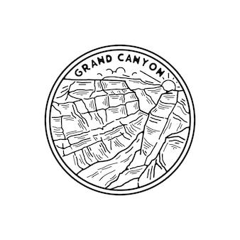 Патч-дизайн национального парка гранд-каньон с черно-белым цветом