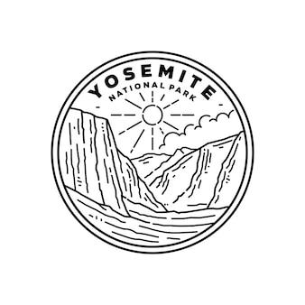 Стикер национального парка йосемити, значок дизайн с черно-белым цветом