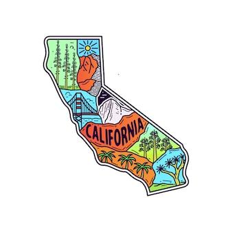 カリフォルニアの地図と屋外モノラインイラスト