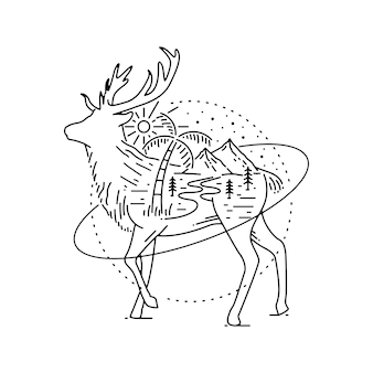 屋外の要素で描かれた動物モノライン手