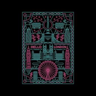 ロンドンの要素を持つモノラインイラスト
