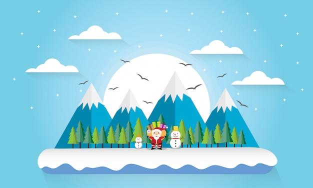 旅行冬の山の森風景