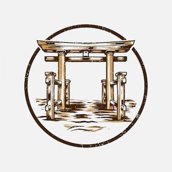 Знак ворот тории в винтажном стиле японии